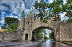 Located in Canada, the Ramparts of Quebec City are the only remaining fortified city walls in the Americas, north of Mexico. The English began fortifying the existing walls, after they took the city from the French in the Battle of the Plains of Abraham in 1759. The wall surrounds most of Old Quebec, which was declared a World Heritage site by UNESCO in 1985..