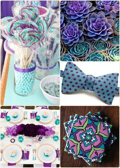 Purple and teal. I love the bow tie