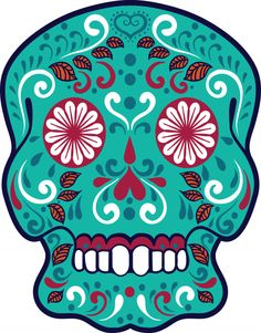 Create your own sugar skull advanced coloring page, or enjoy an already colored in, free printable sugar skull!