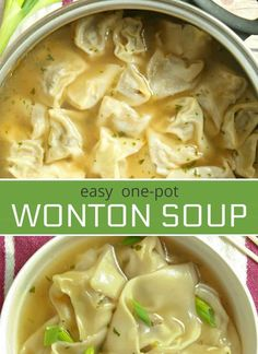 This homemade one-pot easy Wonton Soup is filled with a juicy pork and shrimp filling. It's a comforting soup recipe that will knock your socks off. *used lb ground pork, shrimp, 3 tsp mirin, 3 tsp soy sauce, 1 tsp cooking rice wine Beef Soup Recipes, Ground Beef Recipes, Vegetarian Recipes, Healthy Recipes, Vegetarian Soup, Wonton Soup Recipes, Seafood Soup Recipes, Healthy Food, Healthy Sugar