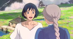 Screencap Gallery for Howl's Moving Castle Bluray, Studio Ghibli). A love story between an girl named Sofî, cursed by a witch into an old woman's body, and a magician named Hauru. Under the curse, Sofî sets Studio Ghibli Characters, Studio Ghibli Movies, Sac Tods, Howls Moving Castle Wallpaper, Howl Pendragon, Howl And Sophie, Animes On, Girls Anime, Hayao Miyazaki