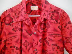 Men's Hawaiian Shirt  Vintage 1960s Casual Cotton by LunaJunction
