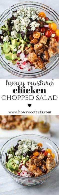 honey mustard chicken chopped salad I howsweeteats.com @howsweeteats #ILoveSalads