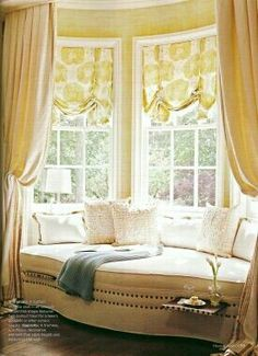 Bay window seat with pillows panels and chair slipcover for Window seat curtains