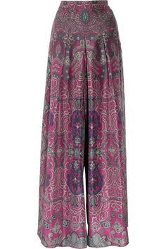 Yves Saint Laurent Printed silk-habotai palazzo pants $916 clearance