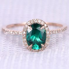 6x8mm Oval Cut Lab Emerald and Diamond Engagement Ring 14K Rose Gold Claw Prongs Halo Stacking Ring