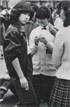 Young woman, Japan, photographer unknown, published in The Sun magazine. Subculture in Japan is taken so seriously; I love how much attitude this girl has! Japanese Streets, Japanese Street Fashion, The Sun Magazine, Illustration Photo, Japan Fashion, Girl Gang, Japanese Girl, Japanese Gangster, Japanese Beauty