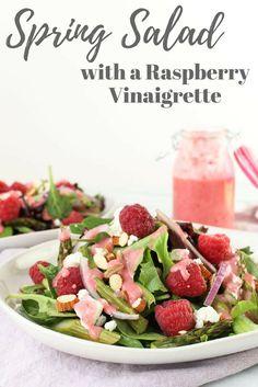 Spring Salad with Raspberry Vinaigrette via RDelicious Kitchen @RD_Kitchen
