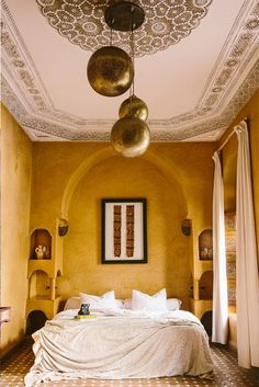 Six of the Best Riads in Marrakech - Laze in dappled sunlight by the pool or sip drinks on the rooftop at one of our favourite Moroccan riads. Moroccan Room, Moroccan Home Decor, Moroccan Interiors, Moroccan Design, Moroccan Lanterns, Moroccan Style Bedroom, Ochre Bedroom, Home Bedroom, Riads In Marrakech