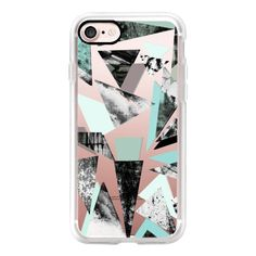 Textured Triangles Turquoise - iPhone 7 Case, iPhone 7 Plus Case,... ($40) ❤ liked on Polyvore featuring accessories, tech accessories, iphone case, apple iphone case, iphone cases and iphone cover case