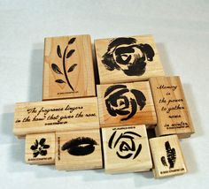 """#Stampin Up, Rubber Stamps - 2003 Set - """"Roses in Winter"""" Retired, $12.00 #AnnsWhimsey Etsy"""