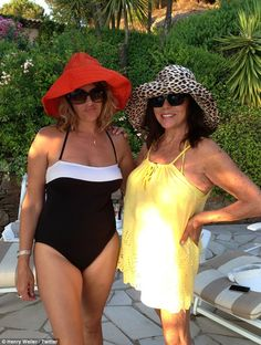 Tracey Emin and Joan Collins relax during a sunshine break in a picture uploaded on micro-blogging site Twitter by Tracey's friend Harry Weller
