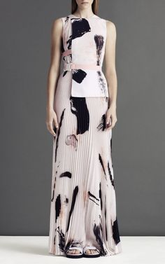 Christopher Kane Printed Half Tab Pleated Maxi Dress at Moda Operandi / #MIZUstyle