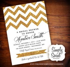 Glitter Chevron Bridal Shower Baby Shower Invitation Gold