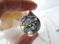 Real Forget me Not Resin Orb Necklace Resin Orb by WishesontheWind