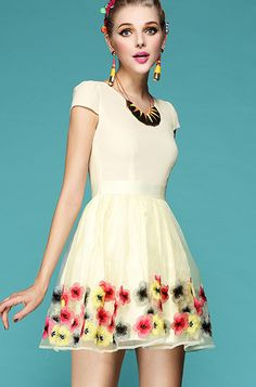 Aprioct Cap Sleeve Embroidery Flowers Organza Flare Dress - Sheinside.com