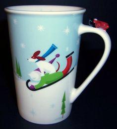 Starbucks winter coffee mug cup 8 oz Child's Xmas toy plane snow Bone China 2011 #Starbucks