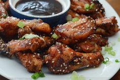 Sticky Asian Glazed Chicken Wings Sprinkled with Sesame Seeds