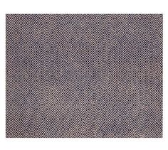 comes across as almost a solid, but modern, geometric print that's really nice. - Devin Tufted Rug - Blue #potterybarn