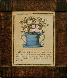 Watercolor Birth Announcement for James B. Schmidt,Chambersburg, Franklin County,Pennsylvania, 1856-57