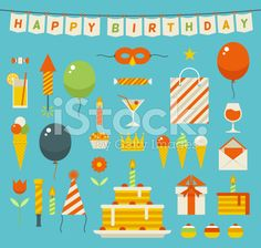 Birthday party flat vector icons. royalty-free stock vector art