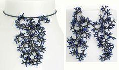Pattern seed beaded earrings necklace memory par JewelrybyVarvara
