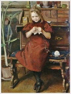 Viggo Johansen (Danish, 1851-1935) «A young girl knitting»:
