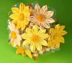 Folded Fabroc Flowers - pink and yellow daisies at FoldingFlowers.com