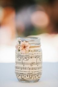 So easy to do and pretty! Some Sheet Music ( maybe a Christmas Song ) inside of a Mason Jar with a Bulb Tea Light and some pretty Ribbon and Floral Embellishment.