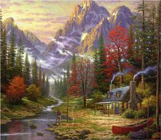 Cottage in the woods by Thomas Kinkade.