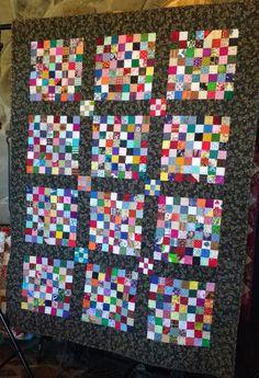 Scrap quilt Large Lap quilt 64-Patch. Bright by QuiltsByMargie