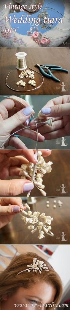 How to make this wonderful vintage style wedding tiara using materials, which you can buy in the nearest craft shop