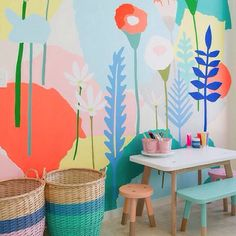 How amazing is this mural by Leah Bartholomew?! (photographed by Vellum Studio via Petite Vintage Interiors) I have to admit that there was a brief moment in time when I considered making a living as a mural artist. And while it quickly passed, I can certainly still appreciate murals like this. What an original alternative to wallpaper - actually applying the masterpiece directly to the wall! I vote that we consider this idea not only for kids, but for grown up spaces too!