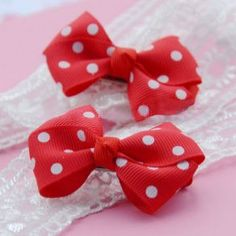 Red hair bows with dots