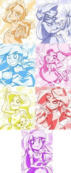 The Mane7 Apple Jack, Rarity, Rainbow Dash, Pinkie Pie, Fluttershy, Sunset Shimmer, and Twilight Sparkle