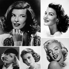 Clockwise from upper right: Ava Gardner, Marilyn Monroe, Grace Kelly, Greta Garbo, and Katharine Hepburn. Glamorous stars from Hollywood's Golden Age.