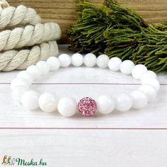 Fehér jade ásvány karkötő rózsaszín csillogó shamballa kristály gömbbel (Arindaekszerek) - Meska.hu Jade, Bracelets, Jewelry, Jewlery, Jewerly, Schmuck, Jewels, Jewelery, Bracelet