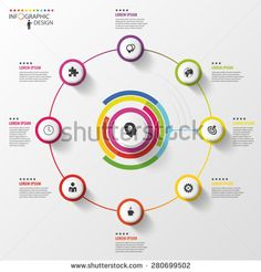 Infographic. Business concept. Colorful circle with icons. Vector