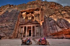 "Petra, Jordan, the elegant site, which dates back to 1200 B.C., today is known as the ""Pink City"" because of the rose-hued sandstone used to create the phenomenal palaces and tombs. It's perhaps most stunning at dusk, when the ancient city is aglow with thousands of candles."