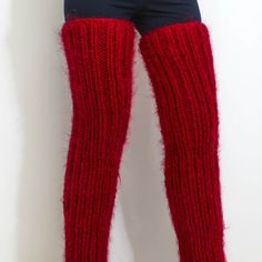 Thick and fuzzy hand knitted long mohair spats red thigh leg warmers