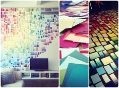 Using sample paint strips to create rainbow wall...