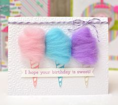 A trio of spun sugar on a card! How cute! Cotton candy card by Ginger Williams for Queen and Company and the Candy Land shaker Card kit.
