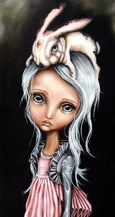 """""""Bunny Couture"""" Angelina Wrona I have loved her art for years. One day I shall own this, it is my favourite because of the bunny. Lewis Carroll, No Ordinary Girl, William Turner, John Singer Sargent, Wow Art, Pop Surrealism, Stretched Canvas Prints, Dark Art, Amazing Art"""