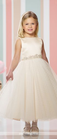 Joan Calabrese for Mon Cheri - Fall 2016 - Style No. 216304 -satin and tulle tea-length flower girl dress