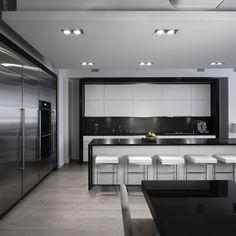 Modern White Kitchen  - white + black + grey