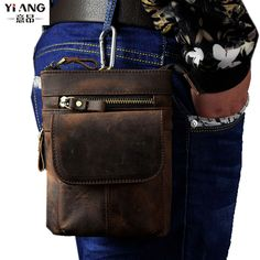 Design; In Creative Genuine Leather Messenger Bag Men Waist Bags Retro Cool Outdoor Phone Pouch Travel Leg Bag Zipper Vintage Male Waist Pack Novel
