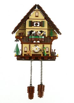"""LEGO: Black Forest Cuckoo Clock ~""""Tons of great inspiration out there if you want to build one of these. The gears for the cuckoo were a fun challenge and something I'll keep playing with. The barrel on the back right side is the turning mechanism for everything. Enjoy!"""" -Nick Tatar"""