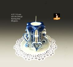 Handmade Carved Candle Valentine's day gift  Blue by MonnaCandles