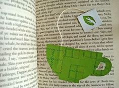 Cup of tea bookmark, from http://genuinemudpie.ca/2011/05/27/a-quick-cup-of-tea/