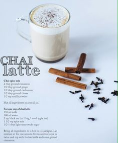chai latte ( sub the sugar for plain sugar) Yummy Drinks, Healthy Drinks, Yummy Food, Smoothie Drinks, Coffee Recipes, Hot Tea Recipes, Drinking Tea, Cooking Recipes, Chia Tea Latte Recipe